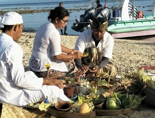 Boat baptism with traditional Balinese ceremony